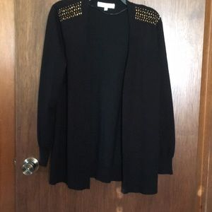 Black cardigan with gold bling on shoulders